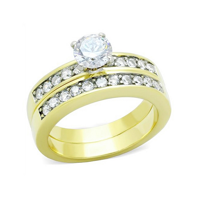 14K Yellow Gold Plated Wedding Ring Set w Cubic Zirconia
