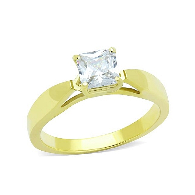 Classy 14K Gold Plated Solitaire Engagement Ring Clear CZ