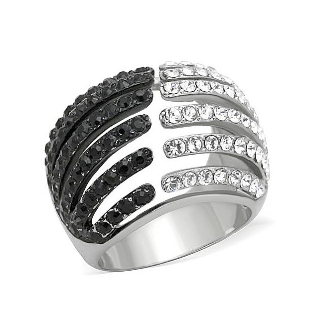 14K Two Tone (Black & Silver) Modern Fashion Ring Black Crystal
