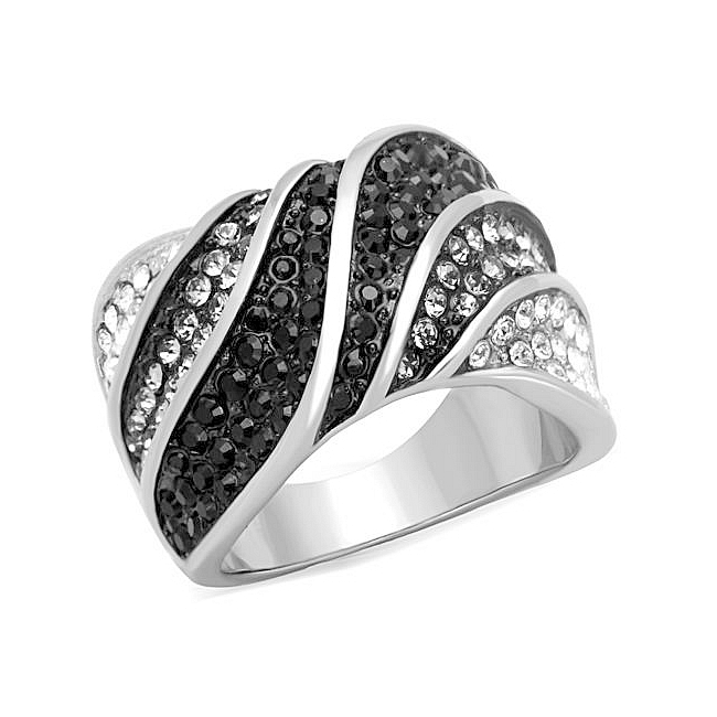 14K Two Tone (Black & Silver) Band Fashion Ring Black Crystal