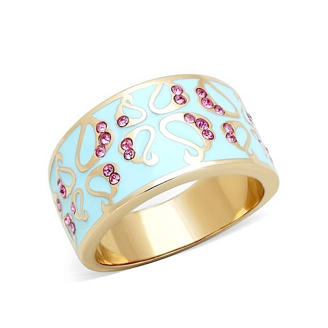 14K Rose Gold Plated Band Fashion Ring Rose Crystal