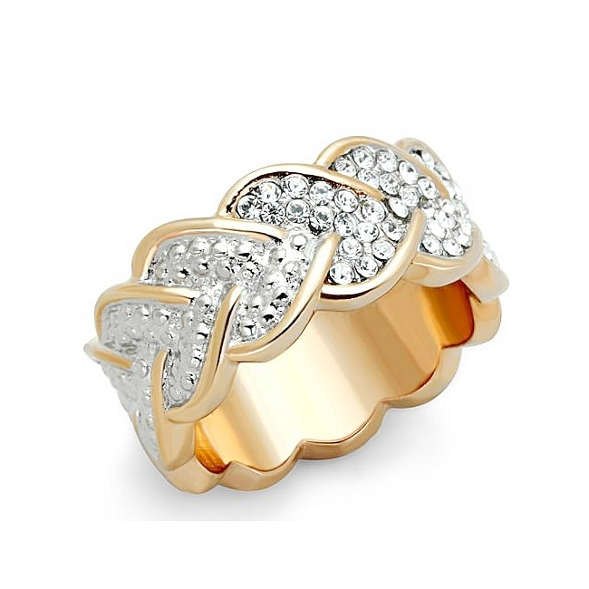 14K Two Tone (Rose Gold & Silver) Band Fashion Ring Clear Crystal