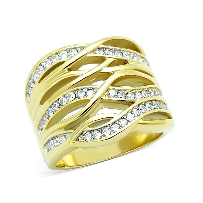 14K Two Tone (Gold & Silver) Modern Fashion Ring Clear CZ