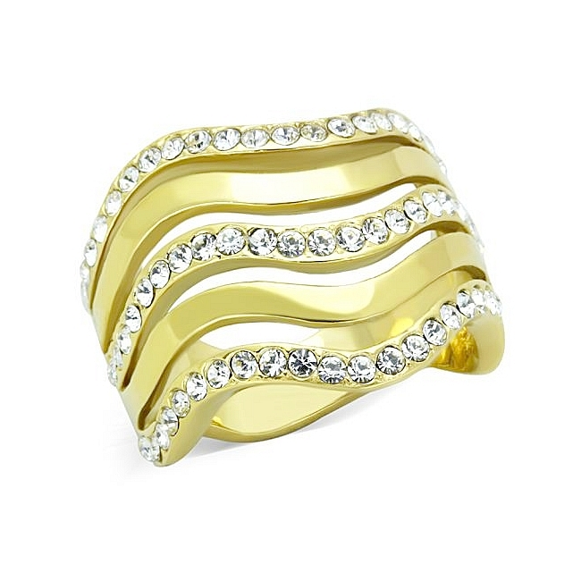 14K Gold Plated Modern Fashion Ring Clear Crystal