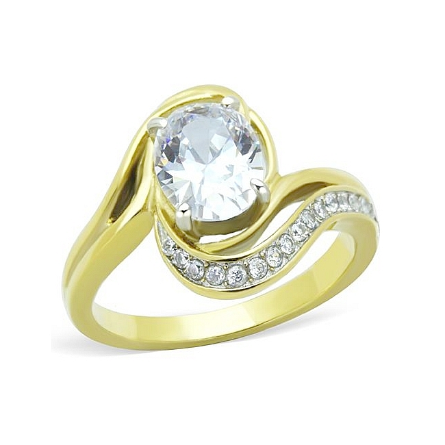 14K Two Tone (Gold & Silver) Fashion Ring Clear CZ