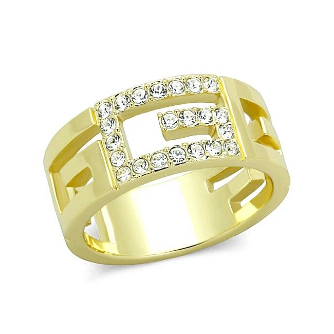 14K Gold Plated Wedding Ring Clear Crystal