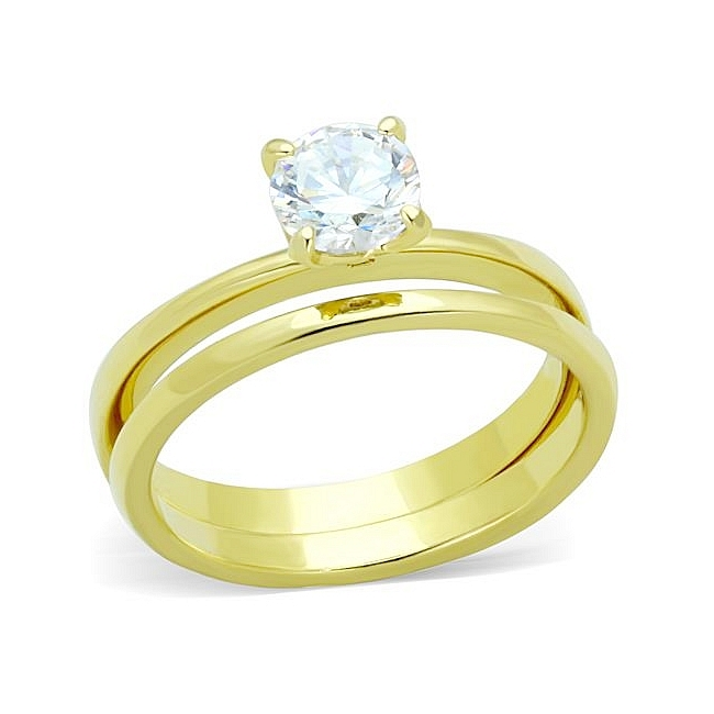 14K Gold Plated Solitaire Engagement Wedding Ring Set Clear CZ