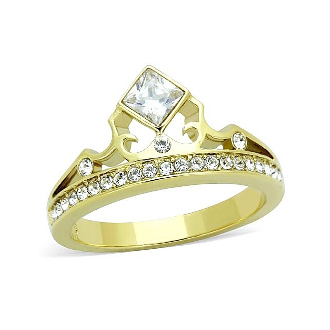 14K Gold Plated Royal Crown Pave Fashion Ring Clear CZ
