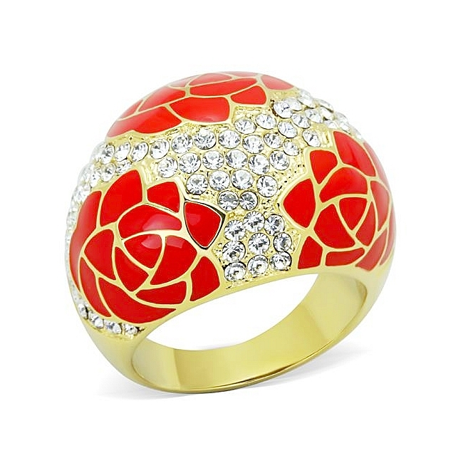 14K Gold Plated Fashion Ring Clear Crystal