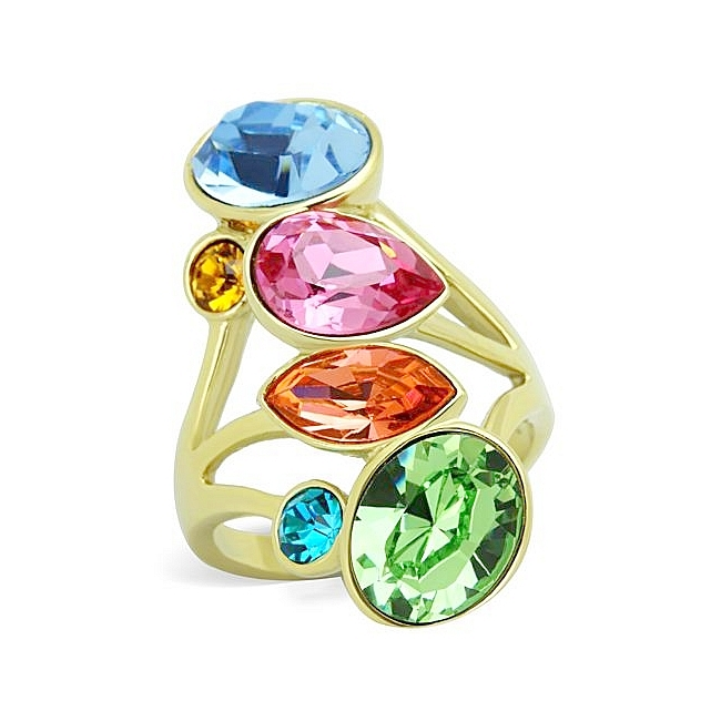 14K Gold Plated Fashion Ring Multi Color Crystal