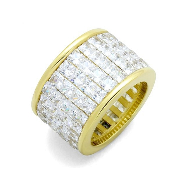 14K Gold Plated Band Fashion Ring Clear CZ