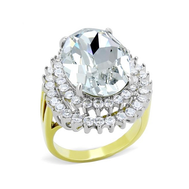 14K Two Tone ( Gold & Silver) Fashion Ring Clear Crystal