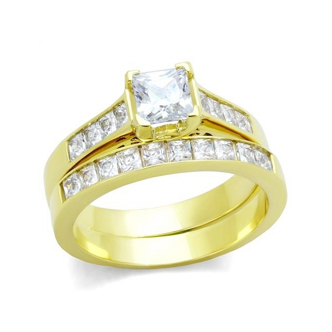 Exquisite 14K Gold Plated Pave Engagement Wedding Ring Set Clear CZ
