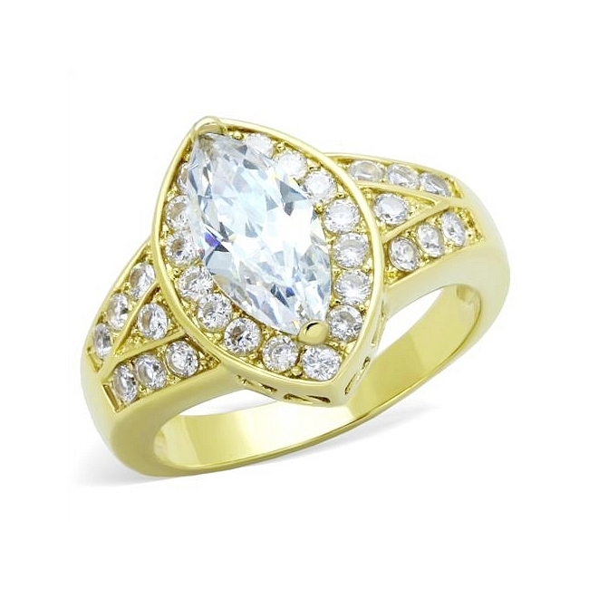 14K Gold Plated Fashion Ring Clear Cubic Zirconia