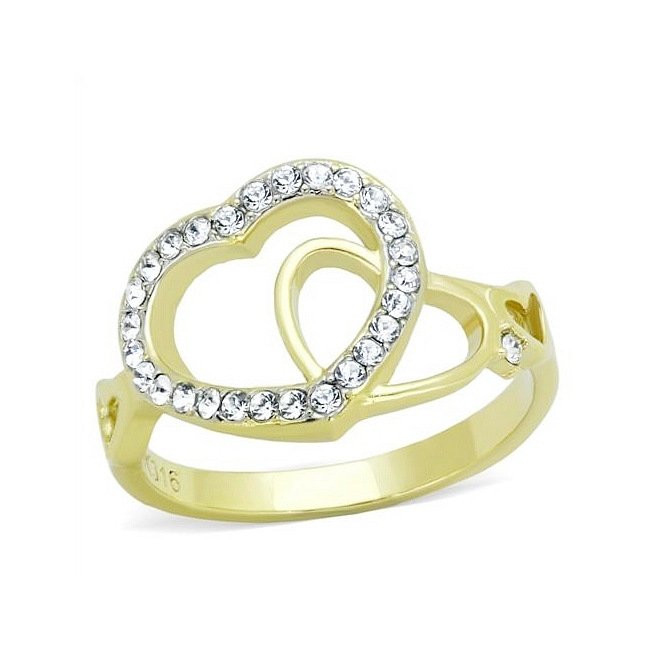 14K Two Tone ( Gold & Silver) Heart Fashion Ring Clear Crystal