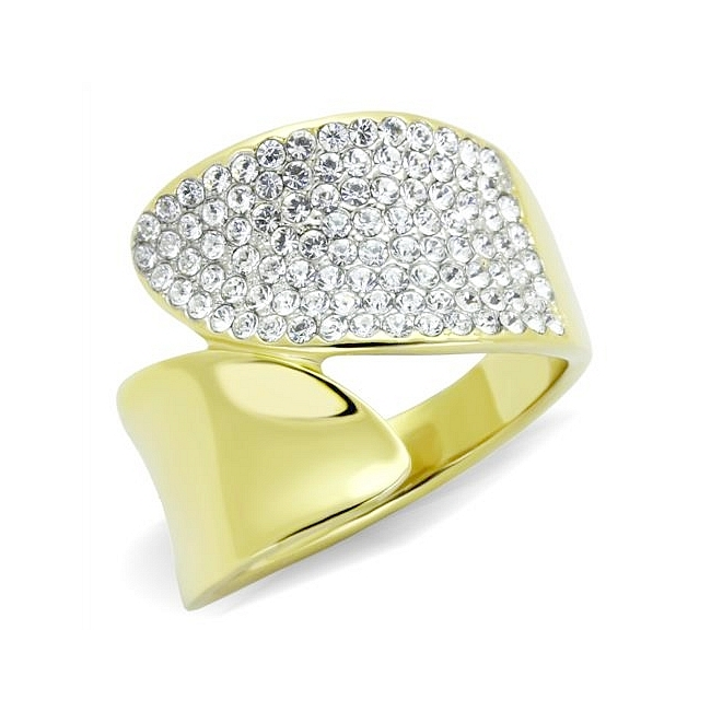 14K Two Tone ( Gold & Silver) Pave Fashion Ring Clear Crystal