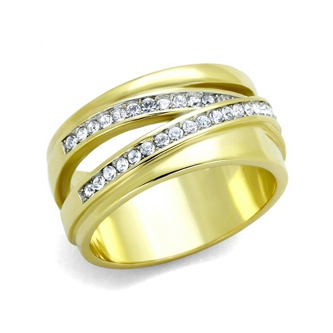 14K Two Tone ( Gold & Silver) Pave Wedding Ring Clear Crystal