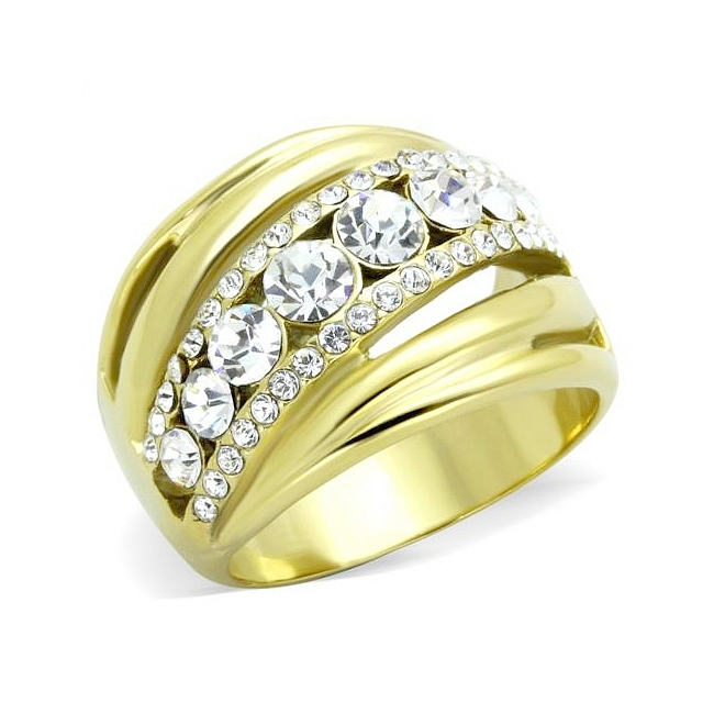 14K Gold Plated Pave Wedding Ring Clear Crystal