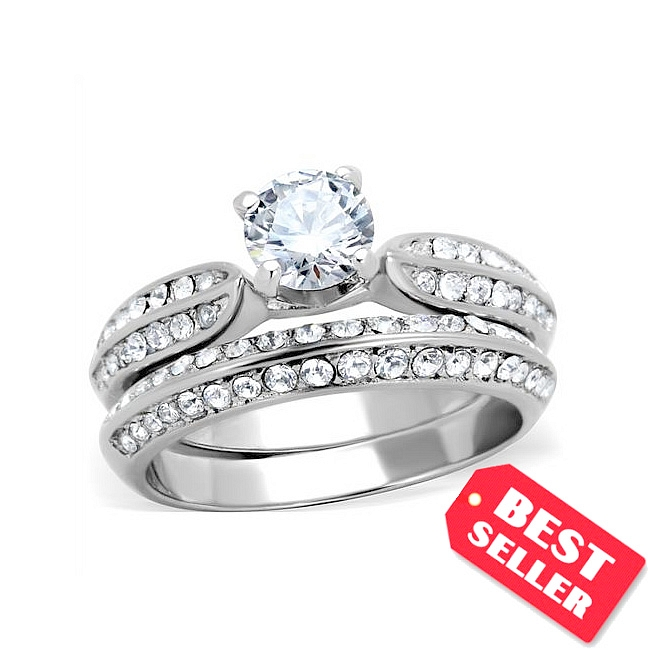 Stylish Silver Tone Pave Engagement Wedding Ring Set Clear CZ