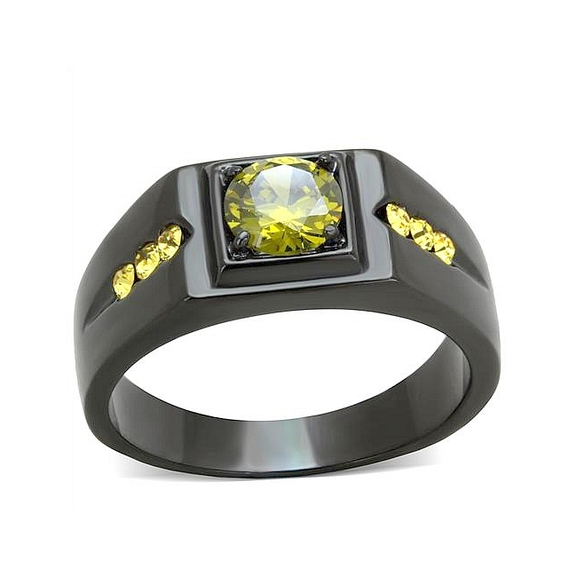 Ion Black Plated Mens Ring Olivine Cubic Zirconia