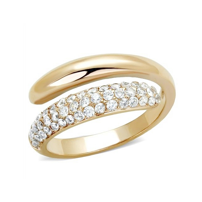 14K Rose Gold Plated Pave Wedding Ring Clear CZ