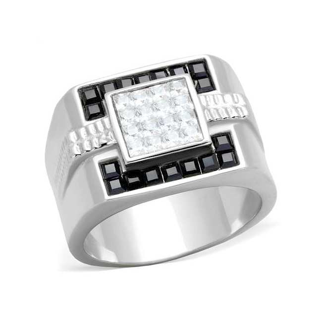 Silver Tone Mens Ring Black Crystal