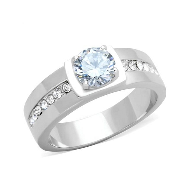 Silver Tone Modern Mens Ring Clear CZ