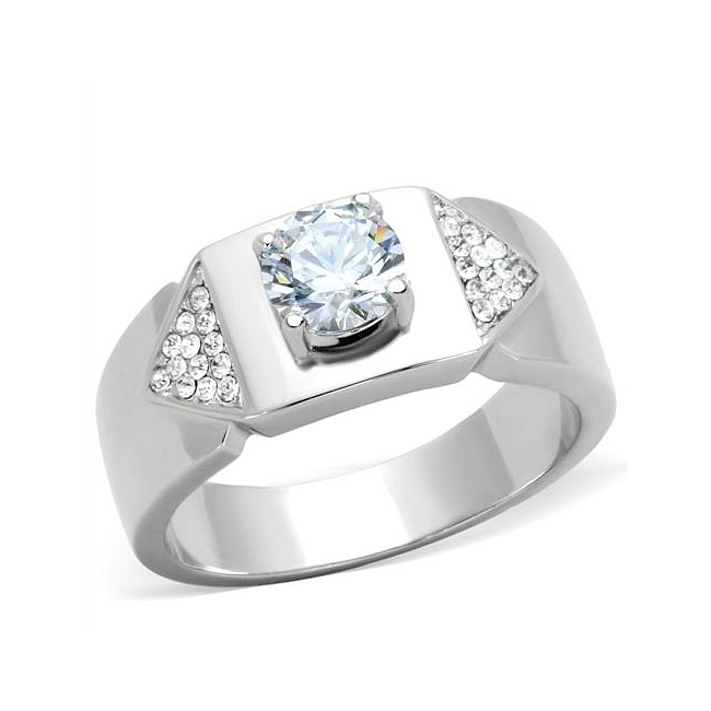Lovely Silver Tone Modern Mens Ring Clear Cubic Zirconia