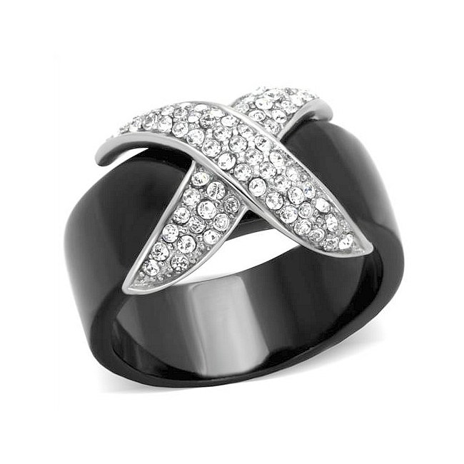 Chanel Style Black & Silver Pave Fashion Ring Clear Crystal
