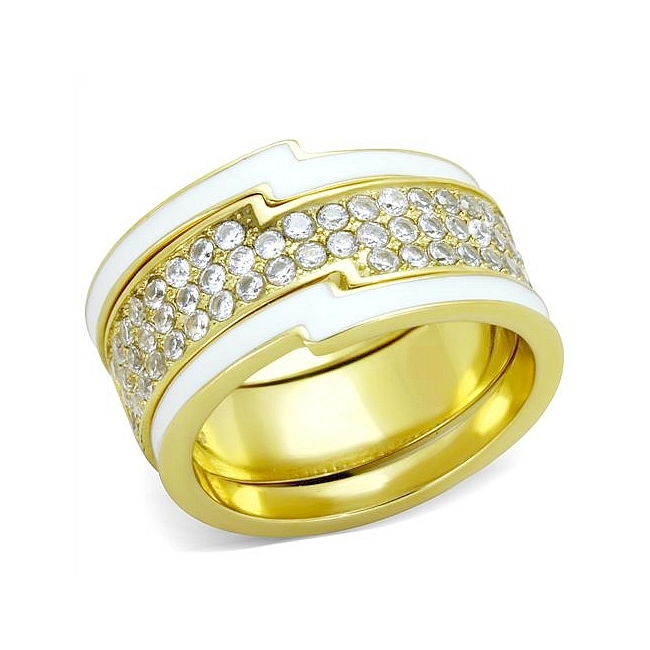 14K Gold Plated Band Fashion Ring Clear Cubic Zirconia