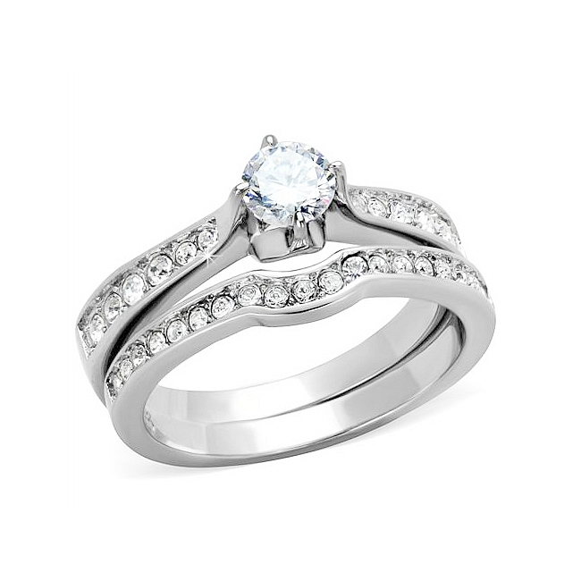 Silver Tone East West Engagement Wedding Ring Set Clear CZ