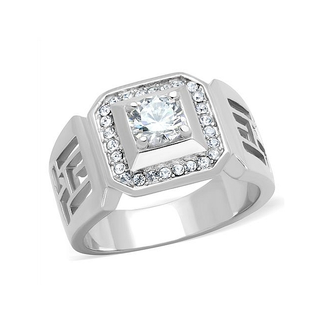 Extraordinary Silver Tone Mens Ring Clear CZ