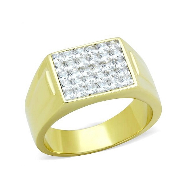 14K Gold Plated Mens Ring Clear Cubic Zirconia
