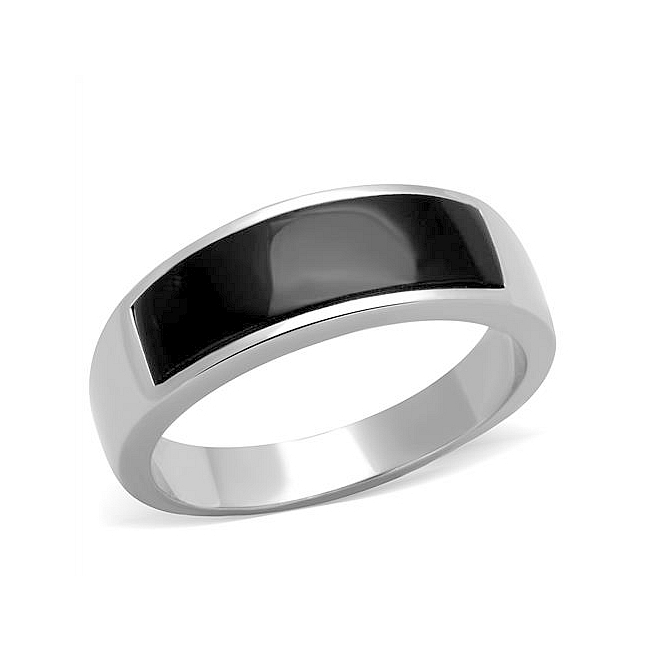 Silver Tone Band Mens Ring Black Synthetic Onyx