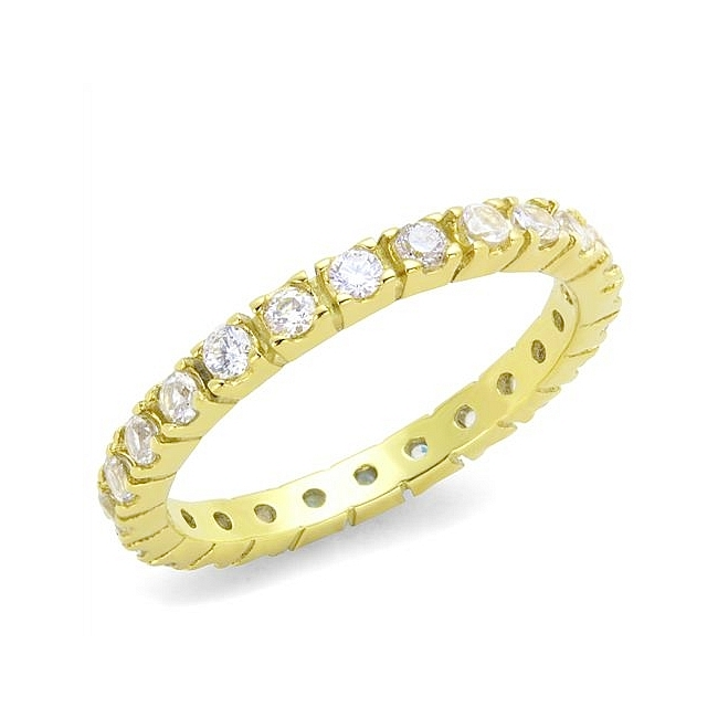 14K Gold Plated Eternity Wedding Ring 3 CARAT CZ