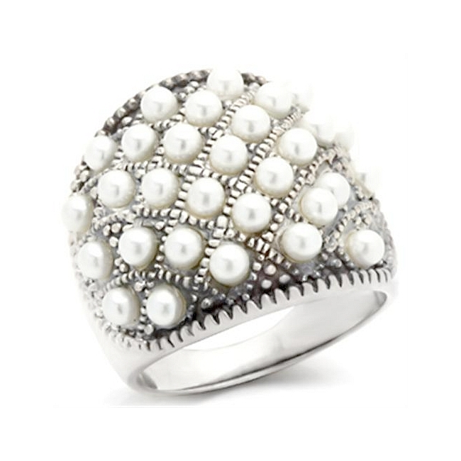 Sterling Silver .925 Ring White Synthetic Pearl