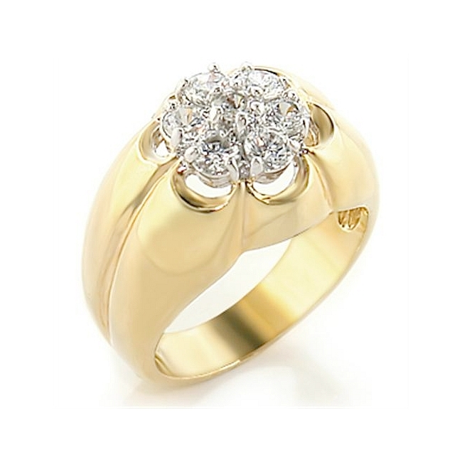 Exquisite Two Tone Mens Ring Clear CZ