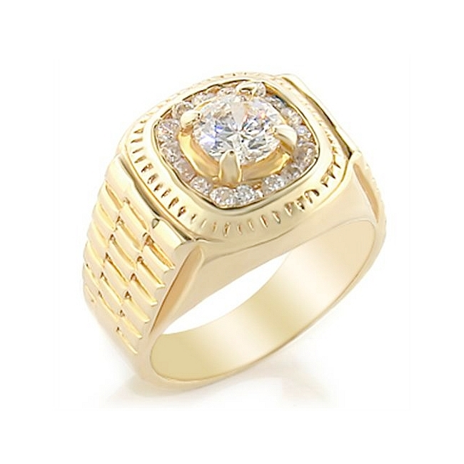 14K Yellow Gold Plated Mens Ring Clear Cubic Zirconia