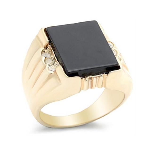 Yellow Gold Plated Square Mens Ring Black Synthetic yx