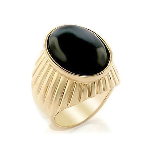 Extraordinary 14K Yellow Gold Plated Mens Ring Black Synthetic Onyx