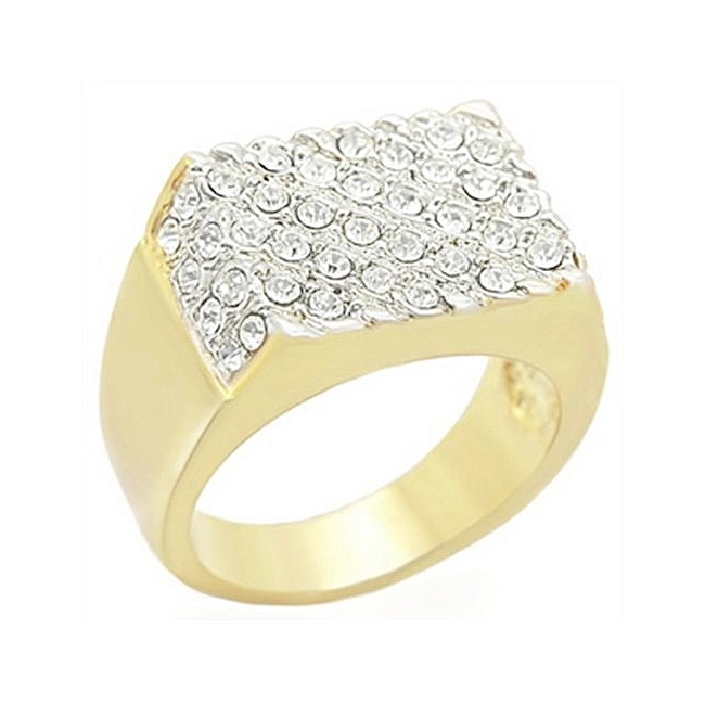 Elegant Two Tone Square Mens Ring Clear Crystal