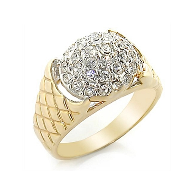 Two Tone Mens Ring Clear Crystal