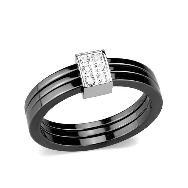 Ceramic Band Fashion Ring Clear Crystal