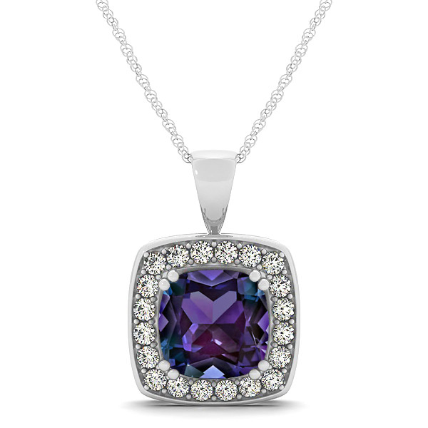 Attractive Purple Cushion Alexandrite Halo Necklace
