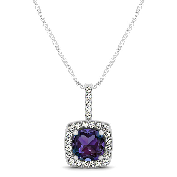 Cushion Alexandrite Square Halo Necklace