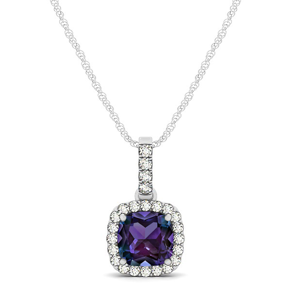 Elegant Cushion Alexandrite Halo Pendant Necklace
