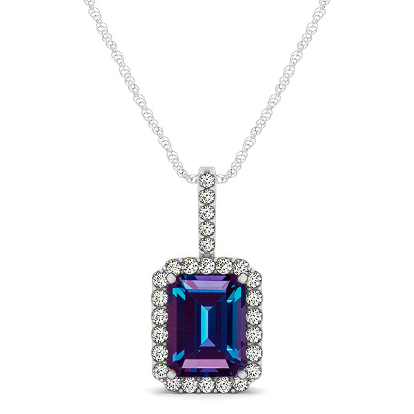 Halo Emerald Cut Alexandrite Necklace Classic Design