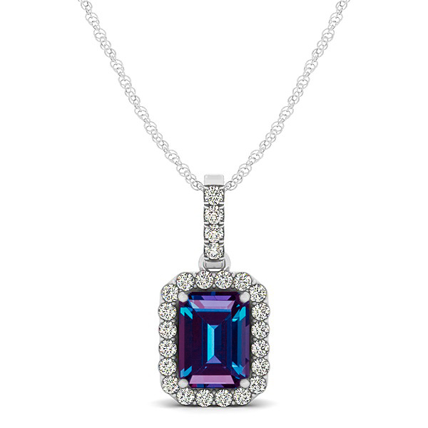 Classic Emerald Cut Alexandrite Necklace with Halo Pendant