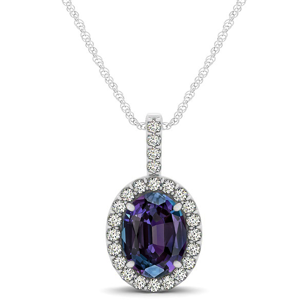 Classic Drop Halo Necklace with Oval AAA Alexandrite Pendant
