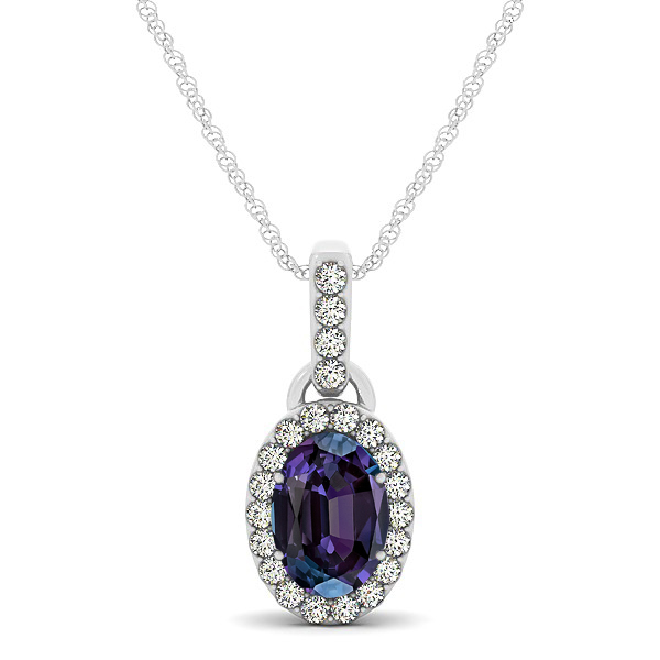 Lovely Halo Oval Alexandrite Necklace in Gold, Silver or Platinum